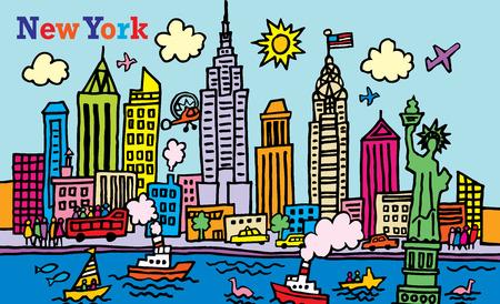 メトロポリス: ニューヨーク市の漫画様式の実例  イラスト・ベクター素材