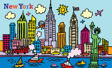 new york city: A cartoon style illustration of New York, City