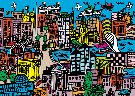 A hand drawn cartoon style illustration of Dublin City, Ireland  Vector