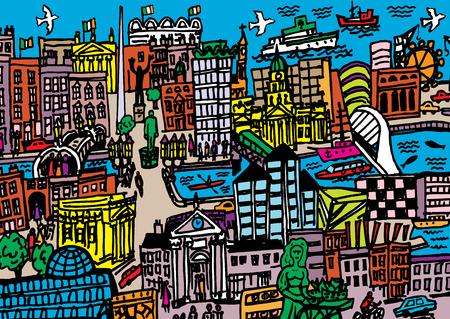 dublin: A hand drawn cartoon style illustration of Dublin City, Ireland  Illustration