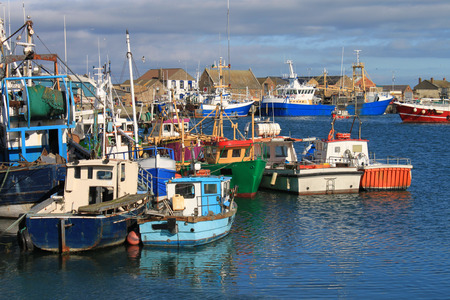 Fishing boats moored at Howth harbour, County Dublin, Ireland