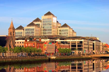 dublin ireland: Buildings at City Quay In Dublin City  Stock Photo