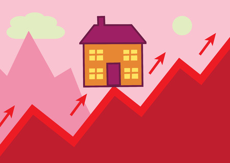 home value: A house perched on the peak of a rising graph, in the shape of a mountain