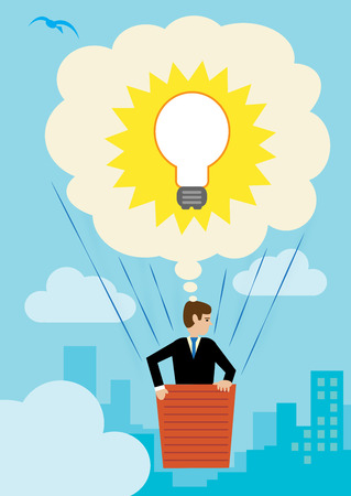 A large thought bubble containing a light bulb, that is lifting up a businessman over the city