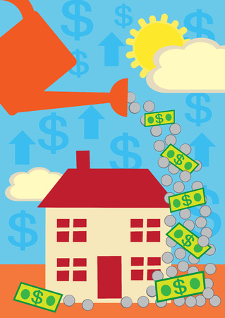 costs: A cartoon style metaphor for house costs and finances