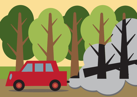 deforestation: A car passing a forest with the trees behind the fumes, black and dead looking  Illustration