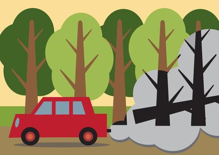 deforestacion: Un coche que pasaba un bosque con los árboles detrás de los humos, negro y muerto que mira