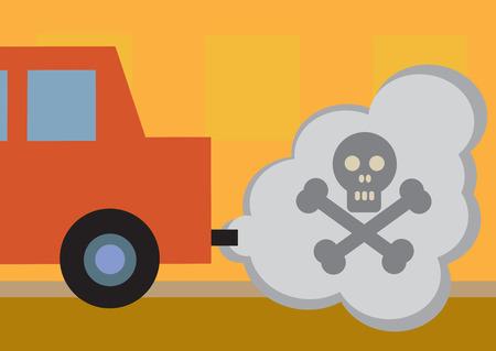 Een auto giftige uitlaatgassen, gesymboliseerd door een schedel en dwarsbeenderen