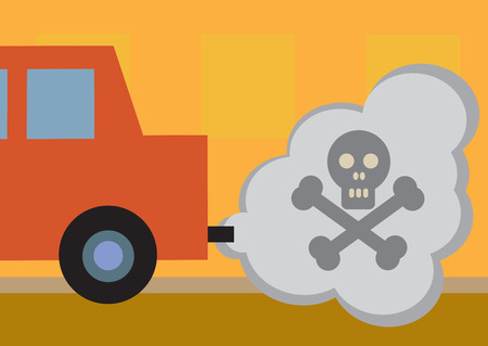 A cars toxic exhaust fumes, symbolized by a skull and cross bones  Illustration