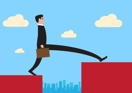 financial obstacle: illustration of a businessman, stepping across a large divide