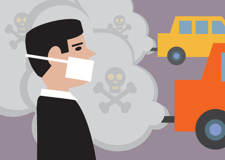Un uomo che indossa una maschera per diminuire l'effetto di sostanze tossiche, l'inquinamento da traffico Archivio Fotografico - 26578799