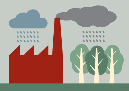 illustration of factory pollution from a chimney, mixing with rain and falling on trees