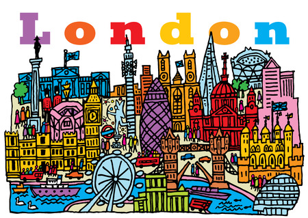 A hand drawn, cartoon style vector illustration of London City, England  Illustration