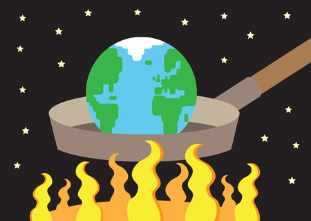 A vector illustration of the earth on a frying pan, with large flames underneath it heating it up  A metaphor for Global Warming