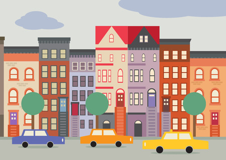 A cartoon style street scene of a Brooklyn Street, with brownstone houses