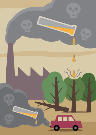 lluvia acida: Una ilustraci�n que representa los efectos de la contaminaci�n t�xica del aire en el medio ambiente Vectores