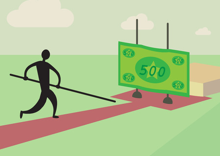 pole vault: A man trying to pole vault over a financial high jump  A personal finance metaphor