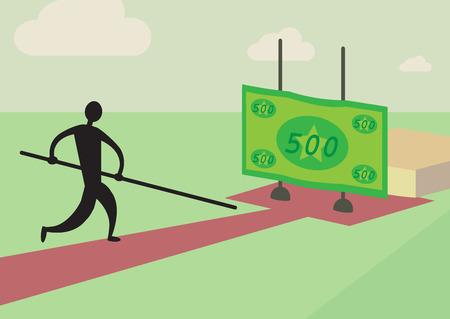 metafoor: Een man probeert te polsstokspringen over een financiële hoogspringen Een personal finance metafoor Stock Illustratie