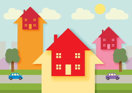 mortgage rates: An urban area with arrow heads, symbolizing rising property, finance, tax or mortgage rates.