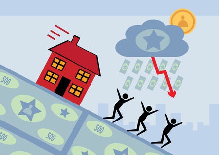 house prices: A house slides downwards on a slope of money. A metaphor for falling house prices.