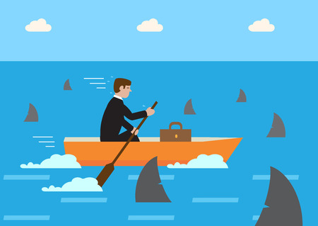 waters: A businessman rowing his boat through shark infested waters. A metaphor on high risk financial strategy. Illustration