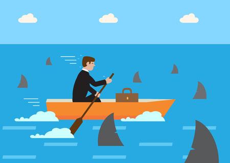 metafoor: Een zakenman roeien zijn boot door haaien vergeven wateren. Een metafoor voor de financiële strategie met een hoog risico.