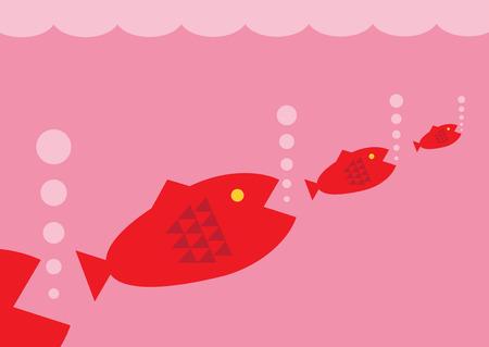 metafoor: Een vector illustratie van de grotere vissen eten progressivly kleinere vissen. Een metafoor voor het bedrijfsleven voedselketen. Stock Illustratie