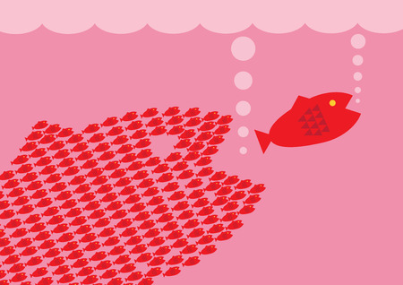 teaming up: A group of small fish teaming up to take on a large fish. A metaphor on team.