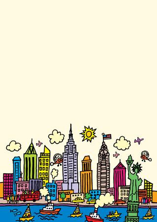 A cartoon style, vector illustration of New York, City.