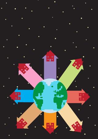 metafoor: Een vector illustratie van de wereld, met onroerend pijlen stijgen van te maken. Een wereldwijde huisvesting metafoor.
