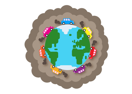 A vector illustration about global traffic, commuting and pollution.