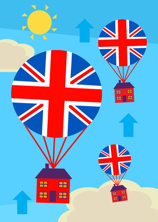 A metaphor for an upward UK housing market and, rising property prices. Stock Illustratie