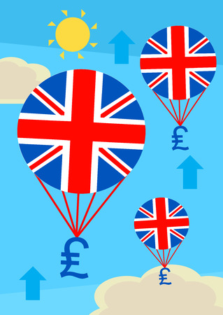 british currency: Ballons with the British flag pulling up pound Sterling currency. A metaphor on a strong currency.