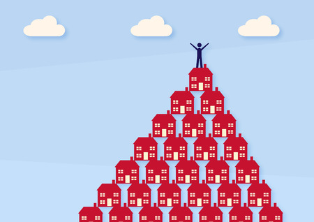 A vector illustration of a man standing on top of a pyramid, made of houses. A metaphor on property investment success. Иллюстрация