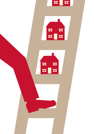 property ladder: A A vector illustration of a person putting his foot on a property ladder.