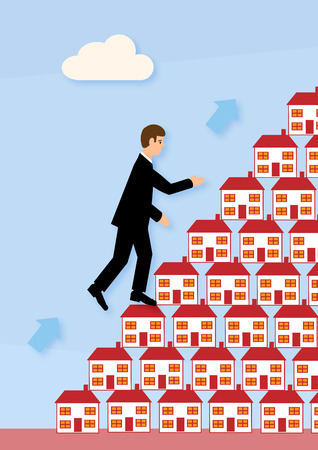 property ladder: A businessman climbing up houses stacked on top of each other. A metaphor about climbing the property ladder and investment.