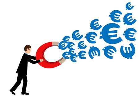 financial success: Ein Gesch�ftsmann h�lt einen gro�en Magneten, das hei�t Euro Symbole anzieht. Eine Metapher auf Euro finanziellen Erfolg.