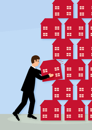 landlord: A vector illustration of a man pulling out one house, from a stack of them and creating the collapse of the rest. A metaphor on a property crash.