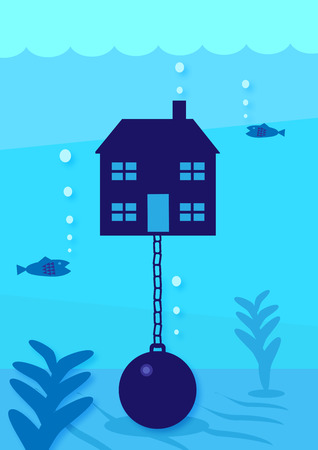 A vector illustration of a house held underwater by a ball and chain. A metaphor on house debt.