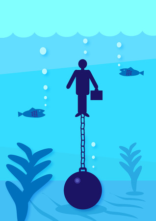 A illustration of a businessman, underwater attached to a ball and chain. A metaphor on personal financial debt. Vector