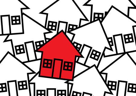 metafoor: Vereenvoudigd huizen in zwart-wit, met een pijl vormige huis in het rood. Een vastgoedmarkt metafoor. Stock Illustratie