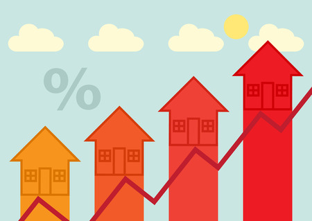 mortgage rates: Arrow heads, symbolizing rising property, finance, tax or mortgage rates.