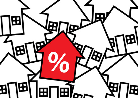 multiple house: A graphic illustration of multiple houses beneath, a red arrow symbol with a percetage sign. A house finance metaphor. Illustration