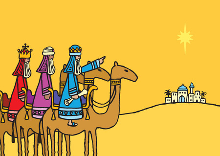 A hand drawn vector illustration of the three wise men following the star.
