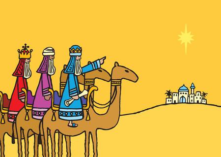Una ilustración vectorial de dibujado a mano de los tres reyes magos siguiendo la estrella. Vectores