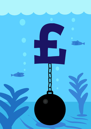 exchange loss: A Pound currency symbol attached to a ball and chain, on the bottom of the sea floor. A metaphor on currency performance and debt. Illustration