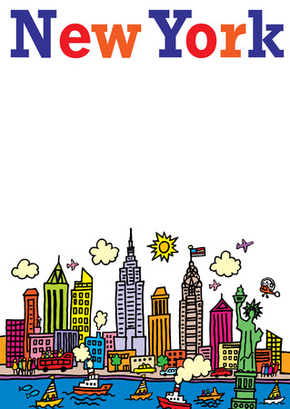 A cartoon style, vector illustration of New York, City.