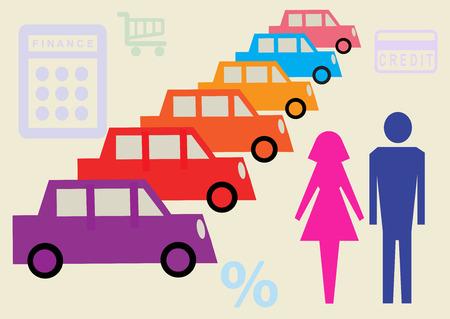car showroom: Una ilustraci�n vectorial de una pareja en un concesionario de coches, tratando de tomar una decisi�n de financiaci�n de autom�viles.