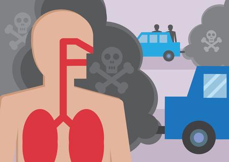 contaminacion aire: Una sección transversal de una personas pulmones para respirar en los humos del tráfico. Una ilustración para resaltar el efecto de la contaminación tóxica del aire.