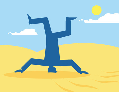 ignore: A vector illustration of a man sticking his head in the sand. A metaphor on blinkered vision in business.